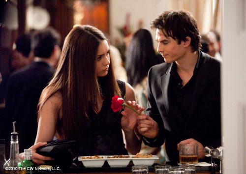 damon gives elena flower