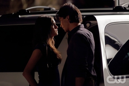 vampire diaries damon and elena kissing. near kisses .